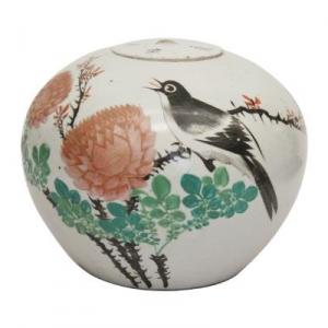 花开富贵 粉彩花鸟盖罐