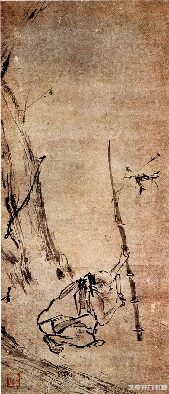 """69   《泼墨仙人图》是梁楷减笔画的代表作,他为了表现""""泼墨"""",特别"""