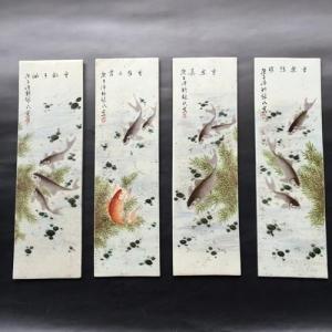 民国名家粉彩鱼乐图四条瓷板