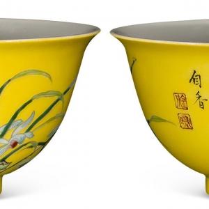 雍正珐琅彩黄地兰石图碗
