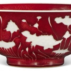宣德祭红釉留白鱼藻纹大碗